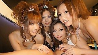 Karin Asamiya & Saki Kozakura & Shiho Kanou & Yuki Mizuho in Karin, Saki, Shiho and Yuki are having fun in the night club - AviDolz