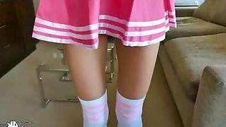 Slim petite cheerleader Paisley Rae guzzles a thick hard penis and gets her muff stretched