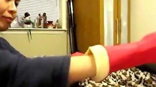 Asian Femdom Red Rubber Glove Milking