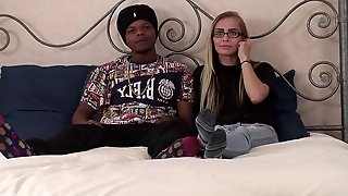 Skinny blonde and her black boyfriend are finally ready to make the jump into porn!