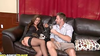 Sexy Leena Sky gets fucked hard on the leather sofa