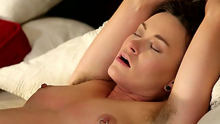 Short haired brunette with hairy armpits gets her pussy licked