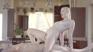 Short hair blondie Riley Nixon enjoys getting fucked balls deep