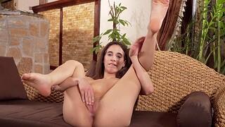 Lickerish solo girl Kitty Fox enjoys masturbating while home solely