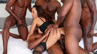 Sexual intercourse brass hat Lisa Ann is fucked and jizzed by several insatiable black guys