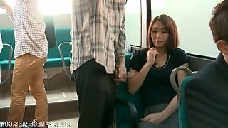 Curvy babes giving massive dick stunning blowjob in the public bus
